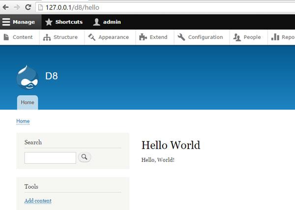 Drupal8模块开发:Hello World添加新页面